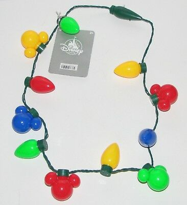 Disney Mickey Mouse Christmas Bulb Light Up Necklace