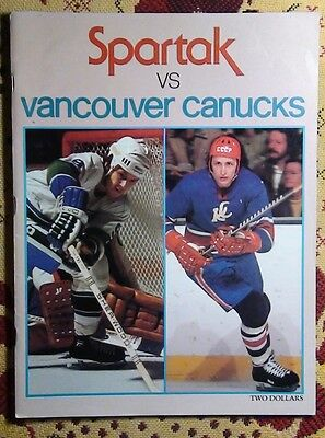 Programme friendly match Vancouver Canucks - Spartak Moscow 1977