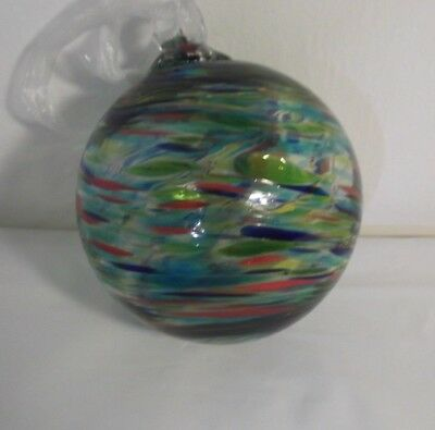 Vintage Hand Blown,Hand Painted Clear Glass Ball Ornament Various Colored Swirls