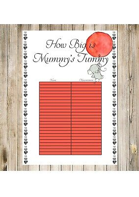 BABY SHOWER GAMES - How Big Is Mummys Tummy? Elephant And Balloon Design UNISEX