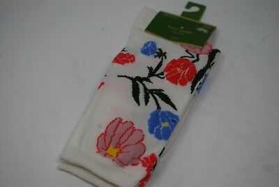338be6d59089 KATE SPADE Kick Up Your Heels Blossom Floral Crew Socks White Pink Blue  Flower