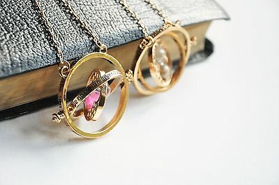 Harry Potter Time Turner Necklace Hermione Rotating Spins Gold Hourglass UK
