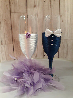 Mr & Mrs bride & groom wedding champagne flutes wedding toast IWHITE LILAC NAVY