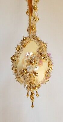 "The Glimmer Tree Bead Sequin Ornament Kit 3"" Egg ""Fields of Gold""  Christmas"