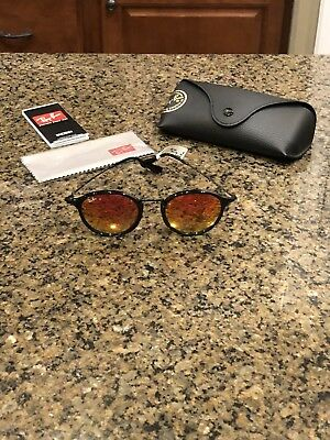 0894ba0530b NWT Ray Ban Round Black Red Mirrored Sunglasses RB 2447-F 901 4W MSRP