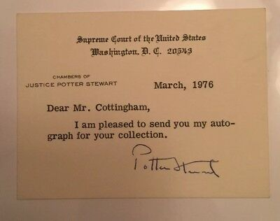 Supreme Court Associate Justice Potter Stewart Signed Chamber's Card
