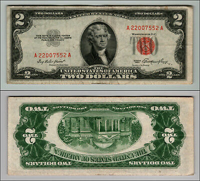 1- 1953 Series $2 Dollar Bill Red Seal United States Currency LOT Z914