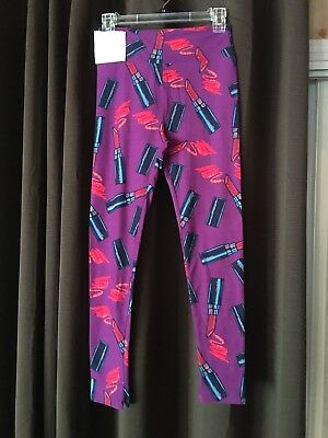 f36047d43a4fc7 Lularoe Lipstick Leggings - OS - Purple Background/ Red Lipstick - NWT -  UNICORN