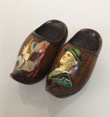 A Pair of Small French Vintage Bretagne Brittany Souvenir Wooden Shoes