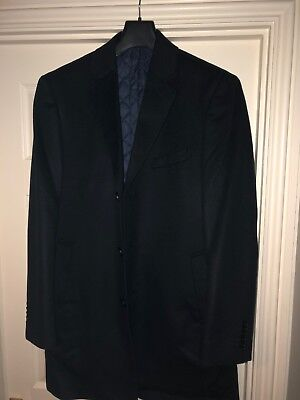 TM Lewin 100% Wool Dark Navy Blue Overcoat 44R With primaloft