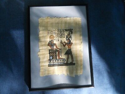 "Framed Egyptian Egypt Art on Papyrus Paper Parchment artwork 11"" X 8"""