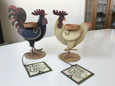 Coyne & Company Rooster & Hen Tea Light Candle Holders Tagged Set Metal
