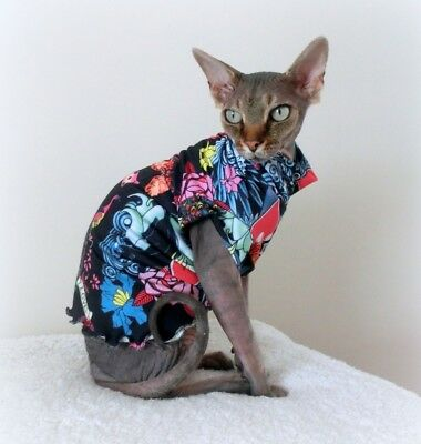 TATTOO cat, 2 way stretch cotton, clothes for a Sphynx cat, SPHYNX cat clothes