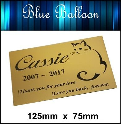 Pet Cat Memorial Plaque 125mm x 75mm Engraved. Personalised