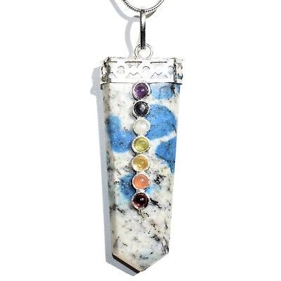 "CHARGED 7 Chakra K2 Granite (Azurite) Crystal Perfect Pendant™ + 20"" Chain"