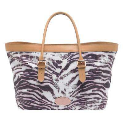 15f1cde588d7 MULBERRY Beige Pink Gold TRIPPY TIGER Raffia Leather Large Beach Bag Tote  NEW