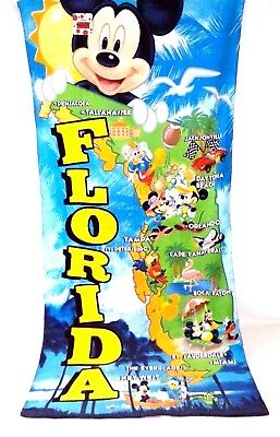 "Disney Printed Beach Towel Florida Cities Mickey Mouse & Friends 28"" x 58"" NWT"