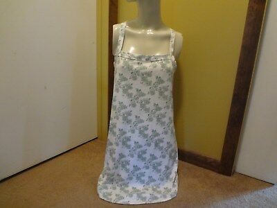 Petra Fashions White w/ Green Flowers Criss Cross Back Chemise sz med
