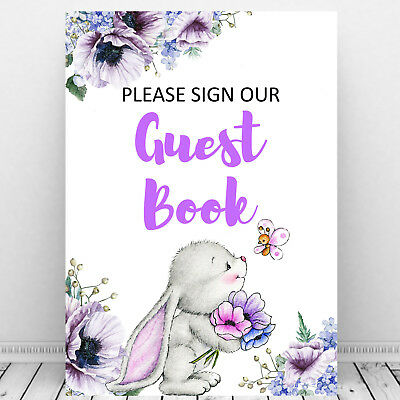 Guest book sign party sign -bunny bunnies kids  birthday Christening baby shower