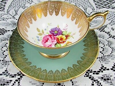 Aynsley Pink Rose Floral  Athen Style Gold Lace Green Tea Cup & Saucer