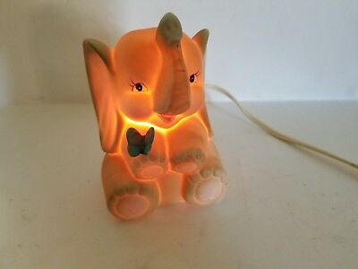 Sitting Bisque Elephant w/Butterfly Night Lite w/Working Bulb Aladdin Giftware