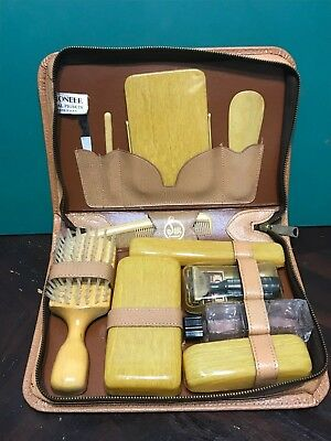 Men's Vintage Grooming Kit Sir Pioneer Leather Complete Travel Case USA Pigskin