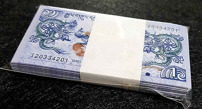 BHUTAN 1 Ngultrum  banknote in 100pcs Bundle UNC (+FREE 1 Bank.note) #D4053