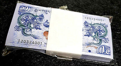 BHUTAN 1 Ngultrum  banknote in 100pcs Bundle UNC (+FREE 1 Bank.note) #D4054