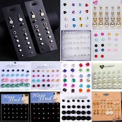 Fashion Colorful Crystal Pearl Earrings Set Women Ear Stud Jewelry 12pcs Gifts