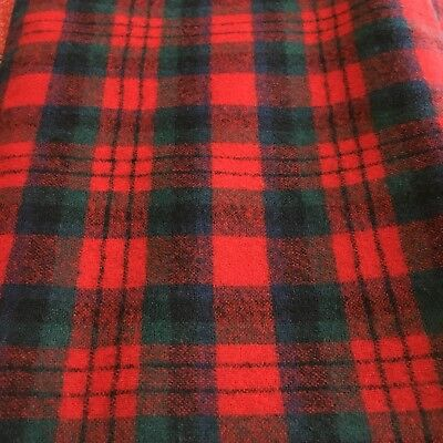 """2 Yds X 62"""" Wool Or Blend Vintage Fabric Plaid-rich Red Green Blue"""
