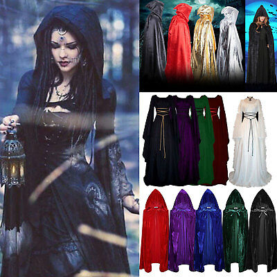 Women Medieval Gown Dress Renaissance Gothic Hooded Cloak Cape Robe Costume US