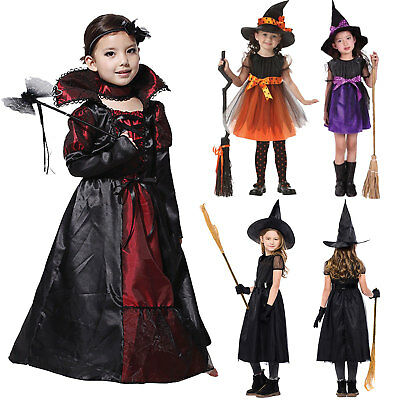 Kids Girls Halloween Costume Witch Vampire Clothes Party Dress Outfit Cosplay