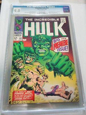 The Incredible Hulk #102 CGC 9.0 VF/NM (1968 Series)with OW Pages origin retold