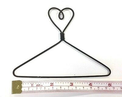 """6X  Small Wire Coat Hangers  5"""" x  3-1/2"""" High (Heart on Top))"""