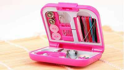 Portable Mini Pink Travel PP Sewing Box With Color Sewing Kit Set DIY for Home