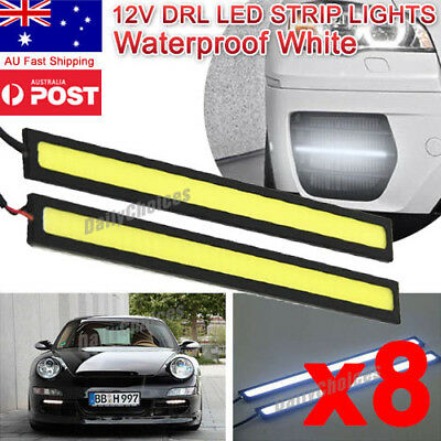 8x 12V Waterproof White DRL LED Strip Lights Camping Caravan Boat Car COB AU