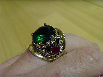 TURKISH OTTOMAN STYLE EMERALD RUBY CLEAR TOPAZ COLOR STONES BRONZE RING, Sz 6.5