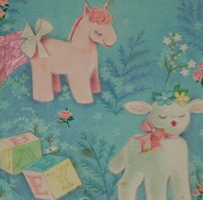 "Vintage greeting card, cute sheep and pink pony, Hallmark new baby 6"" used"