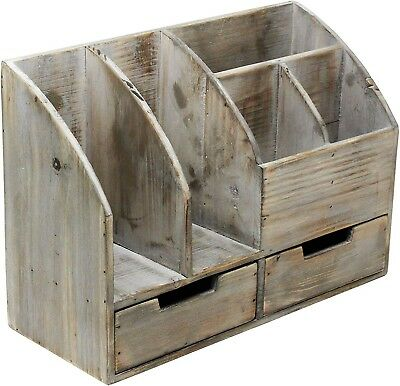 36 Vintage Rustic Wooden Office Desk Organizer Book Shelf Desktop Tabletop