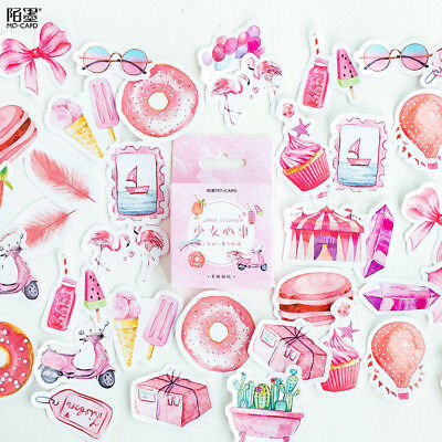 46pcs Sweet Girl's Heart Decorative Stationery Stickers Scrapbooking DIY Sticker