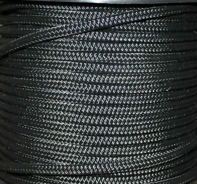 100m x 8mm SOLID BLACK Rope - Double Braid Polyester for Yacht Boat & Marine