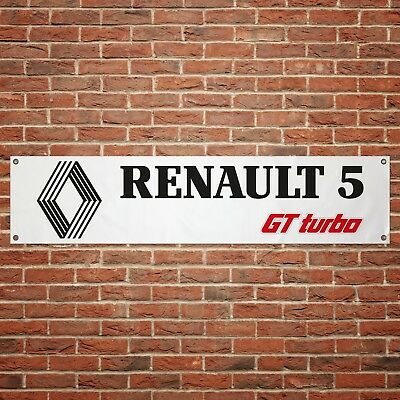 Renault 5 GT Turbo Banner Garage Workshop PVC Sign Trackside Display Classic Car