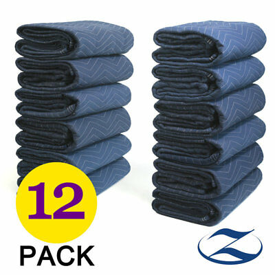 12 Heavy Duty Moving Blankets Deluxe 40 lb/dz Quilted Shipping Furniture Pads