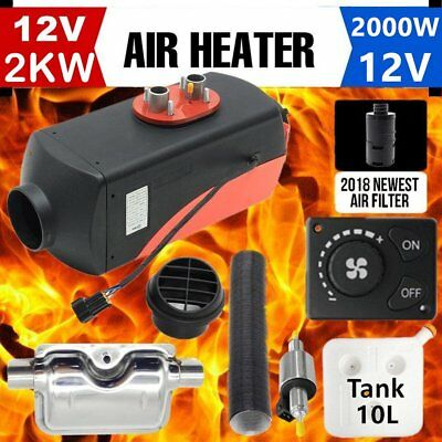 12V 2KW Diesel Air Heater for RV Motorhome Trailer Trucks Boats 2KW + Silencer U