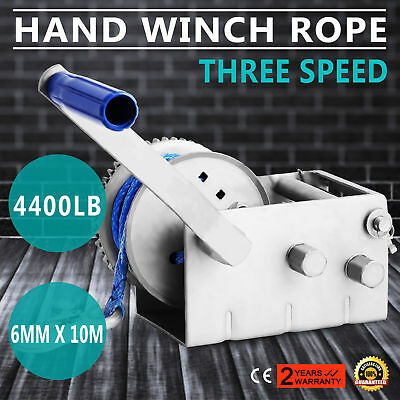 2000kg Hand Winch Dyneema Rope 3speed- Boat Car Marine Trailer Atlantic Jarrett