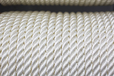 Nylon 3 Strand Twisted Rope 16mm x 100m White