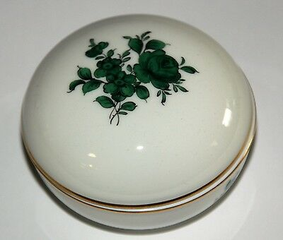 Wien Augarten Covered Dish Porcelain with Green Rose Height Approx. 5,5 cm,Dm