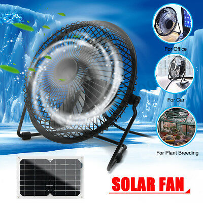 10W Solar Panel Powered+USB Portable Fan Cooling Cooler Home Ventilation Outdoor