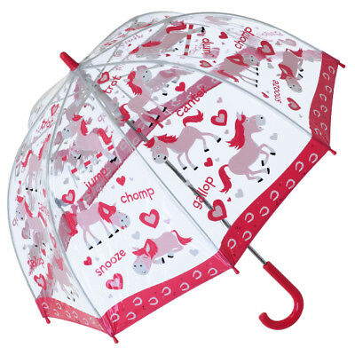 Bugzz PVC Dome Umbrella for Children (New Design) - Ponies and Hearts
