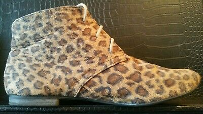 ffaba2f6856 LADIES LEOPARD PRINT ankle boots faux suede round toes pump flat lace up  size 6